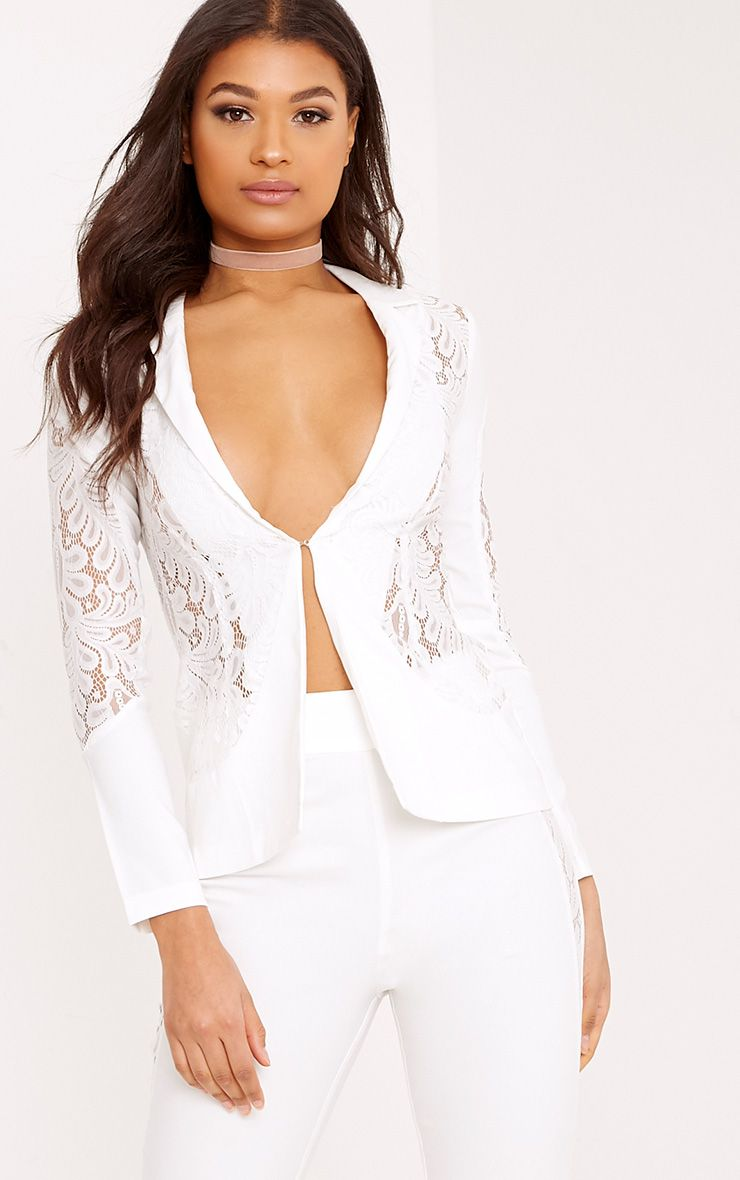 Mikaylah White Lace Insert Detail Suit Jacket