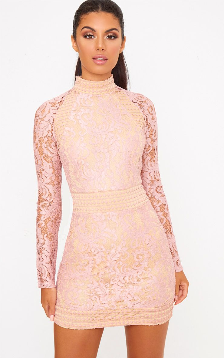 Dusty Pink Lace High Neck Bodycon Dress