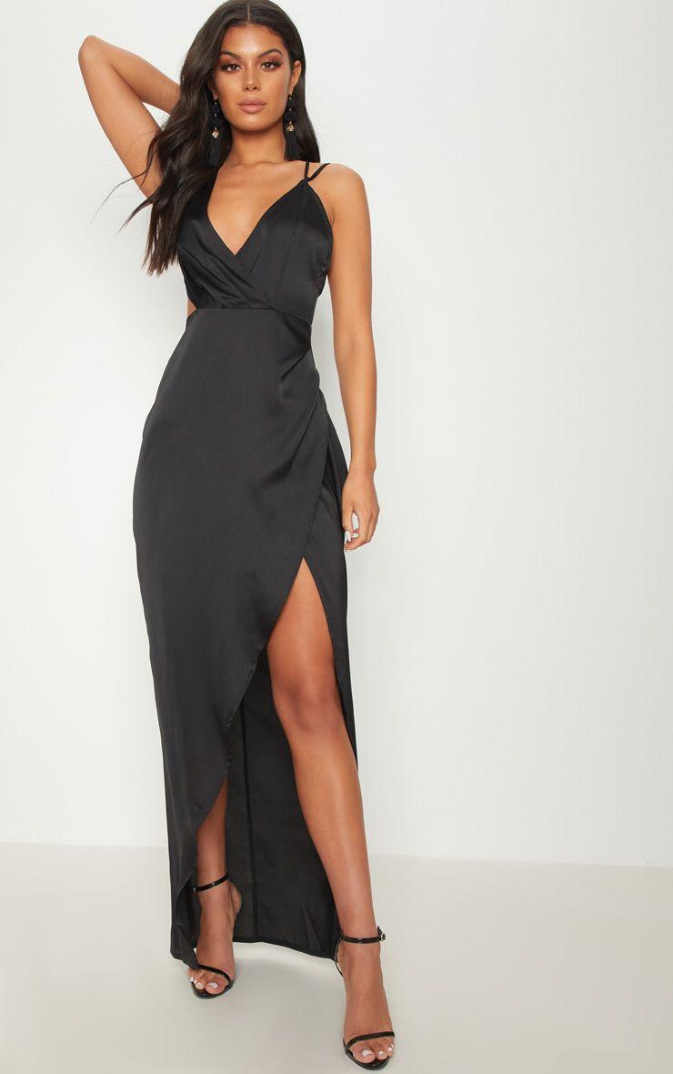 PRETTYLITTLETHING Asymmetric Sleeve Cut Out Split Leg Maxi Dress Amazing Price wLDEsvyM