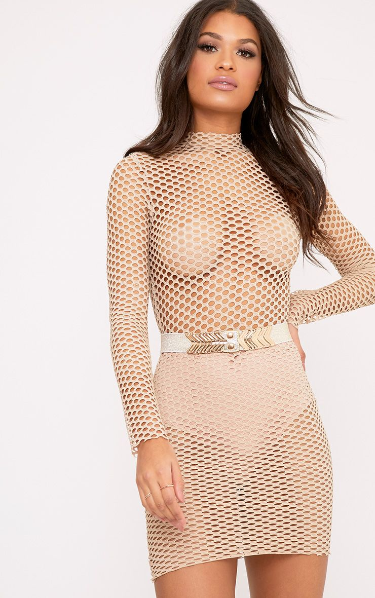 Izzie Nude Fishnet Bodycon Dress