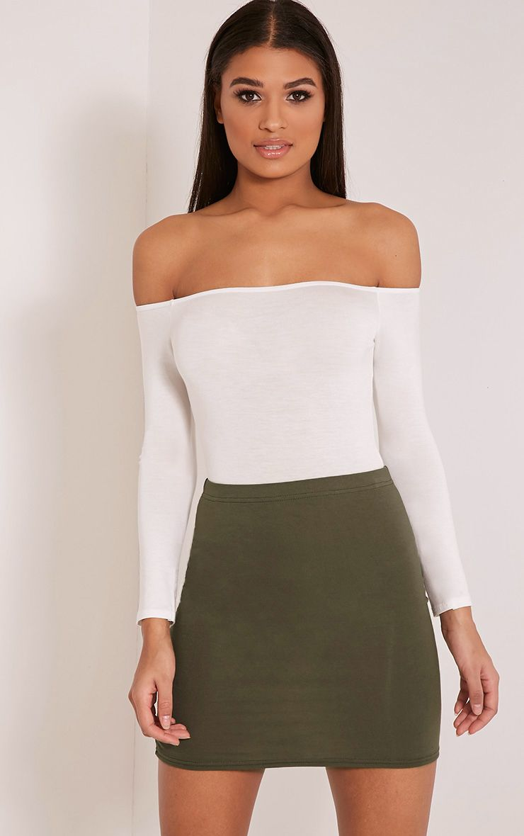 Basic Khaki Jersey Mini Skirt