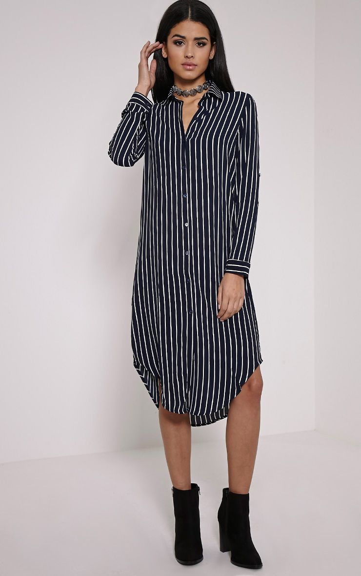 Chelsea Navy Longline Striped Shirt Dress 1