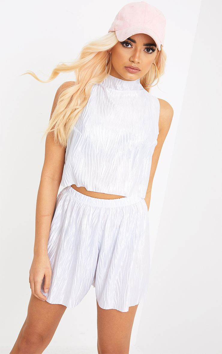 Maurelle Silver Pleated Shorts