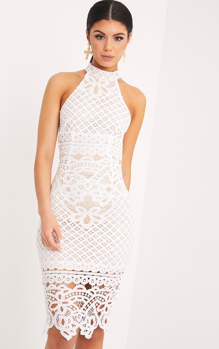 Hanny White Crochet Midi Dress