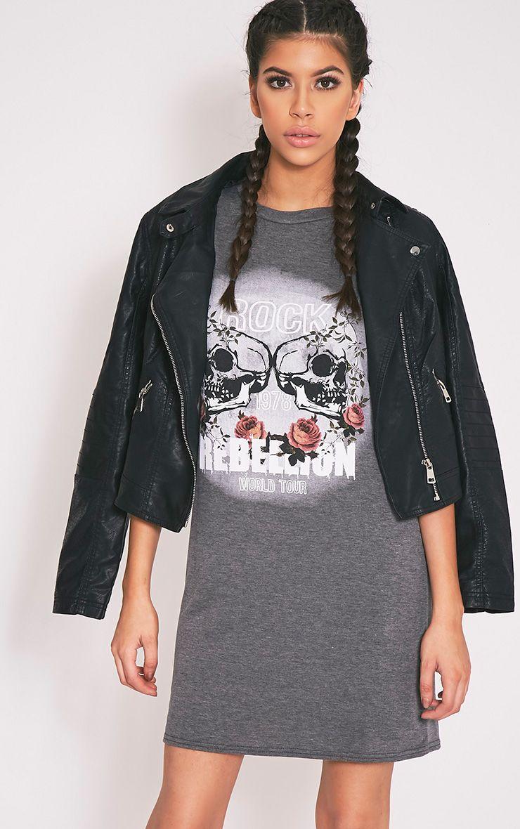 Rock Rebellion Charcoal Printed T Shirt Dress 1