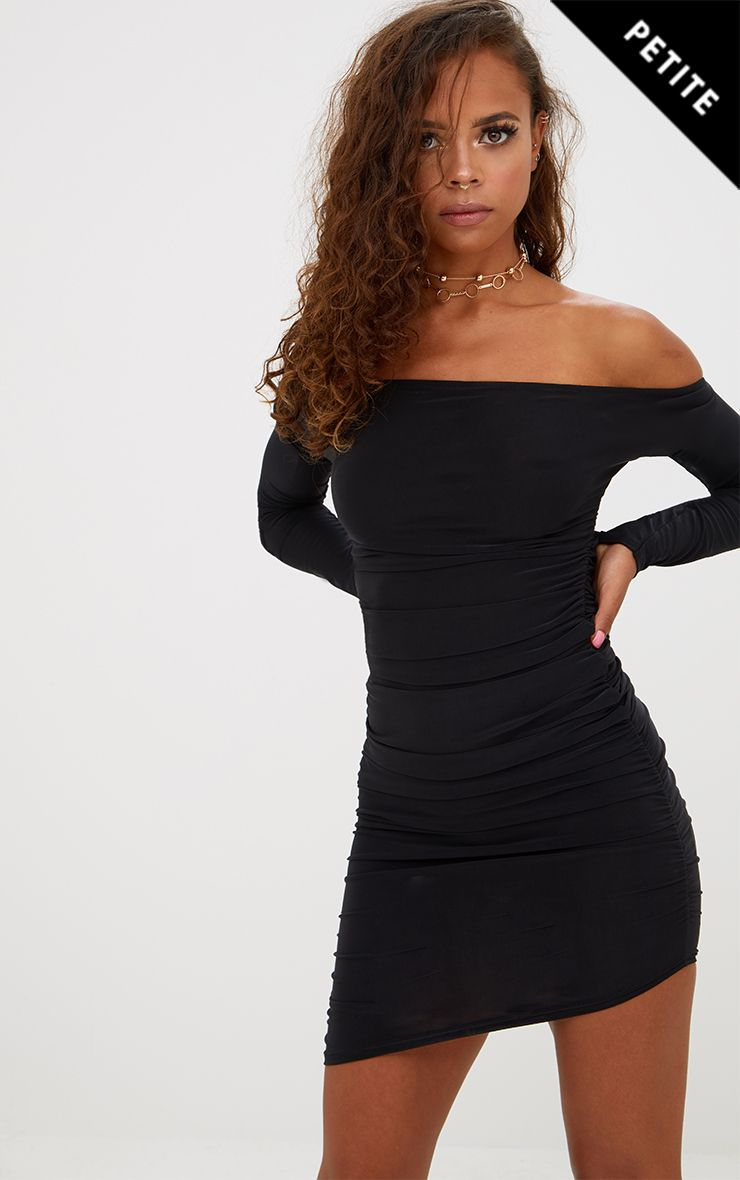 Petite Black Slinky Asymmetric Bardot Dress