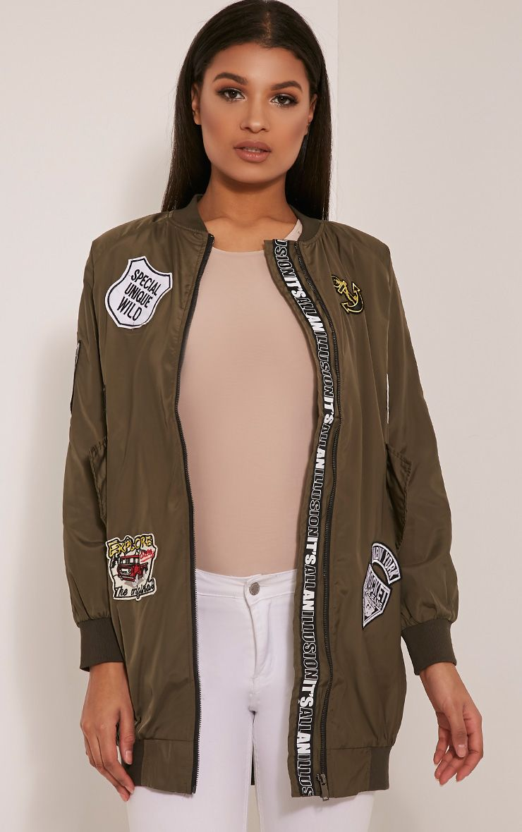 Kacee Khaki Longline Badge Detail Bomber Jacket 1