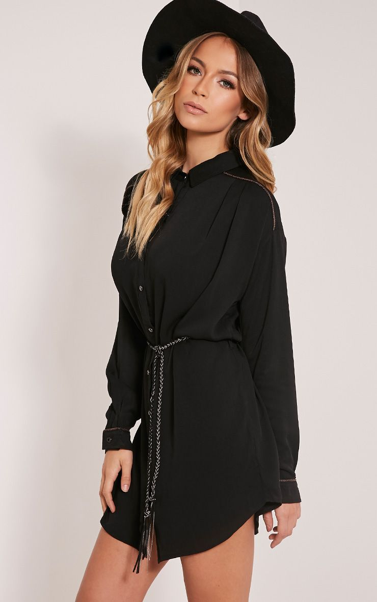 Kalin Black Western Shirt Dress 1