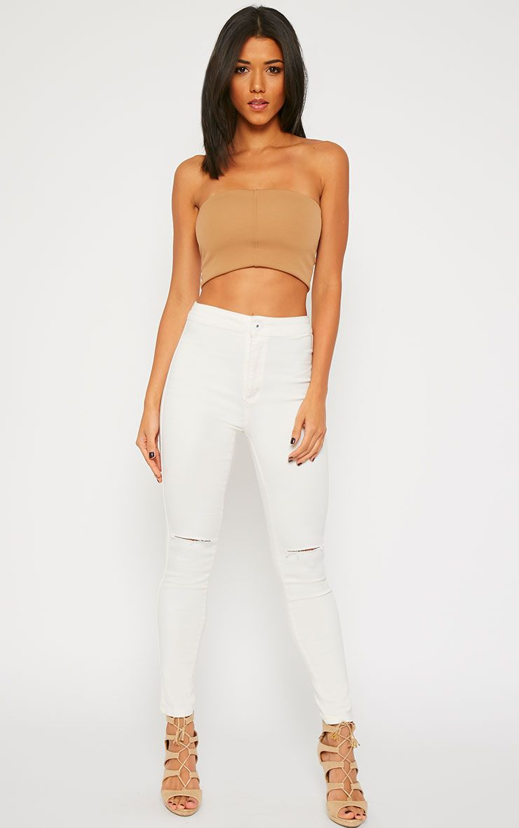 Millie Cream High Waist Ripped Jeans 1