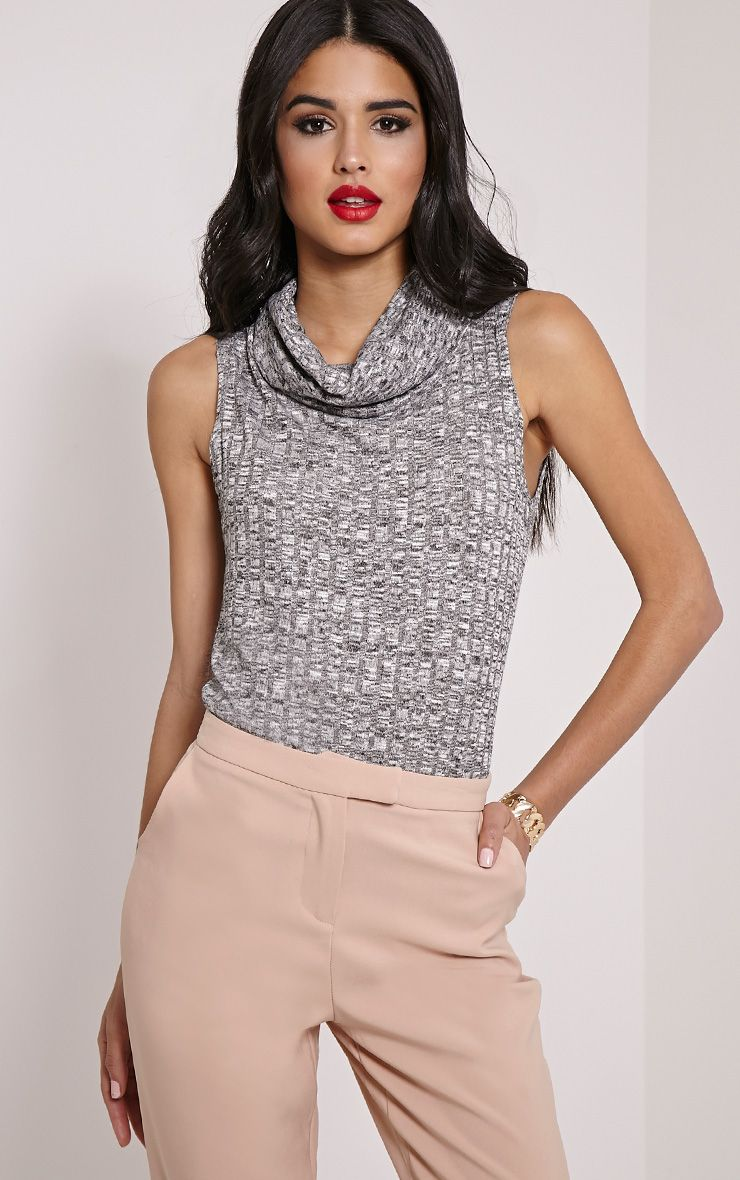 Dione Grey Marl Knitted Roll Neck Top 1