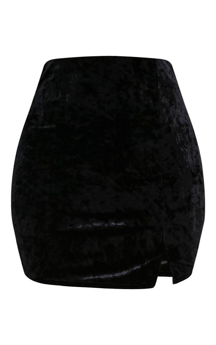 Sinead minijupe noire fendue sur le côté en velours écrasé 3
