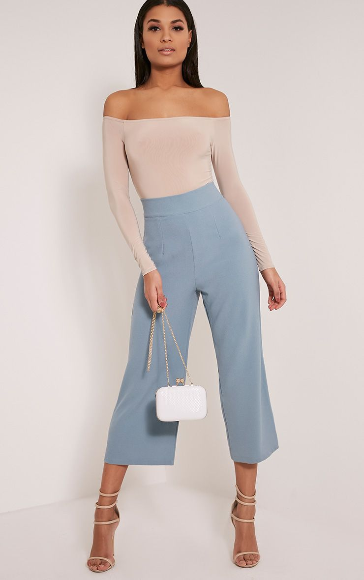 Tazmin Dusty Blue High Waisted Culottes