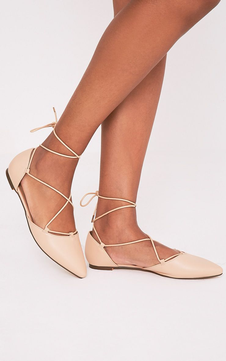 Vienna Nude Faux Leather Lace Up Ballet Flats