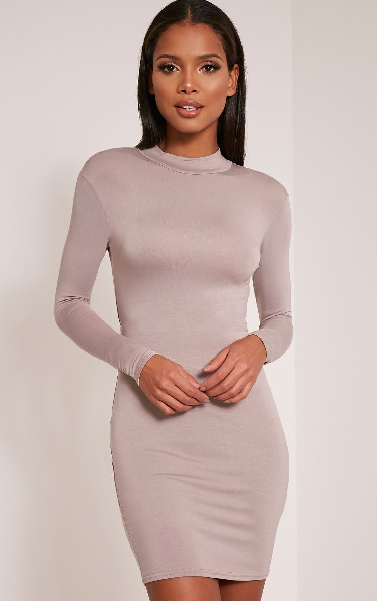 Demee Taupe Open Back Jersey Bodycon Dress
