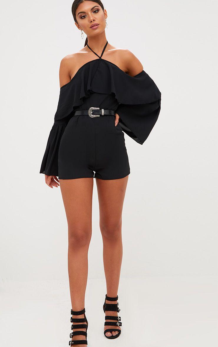 Black Halterneck Frill Front Playsuit