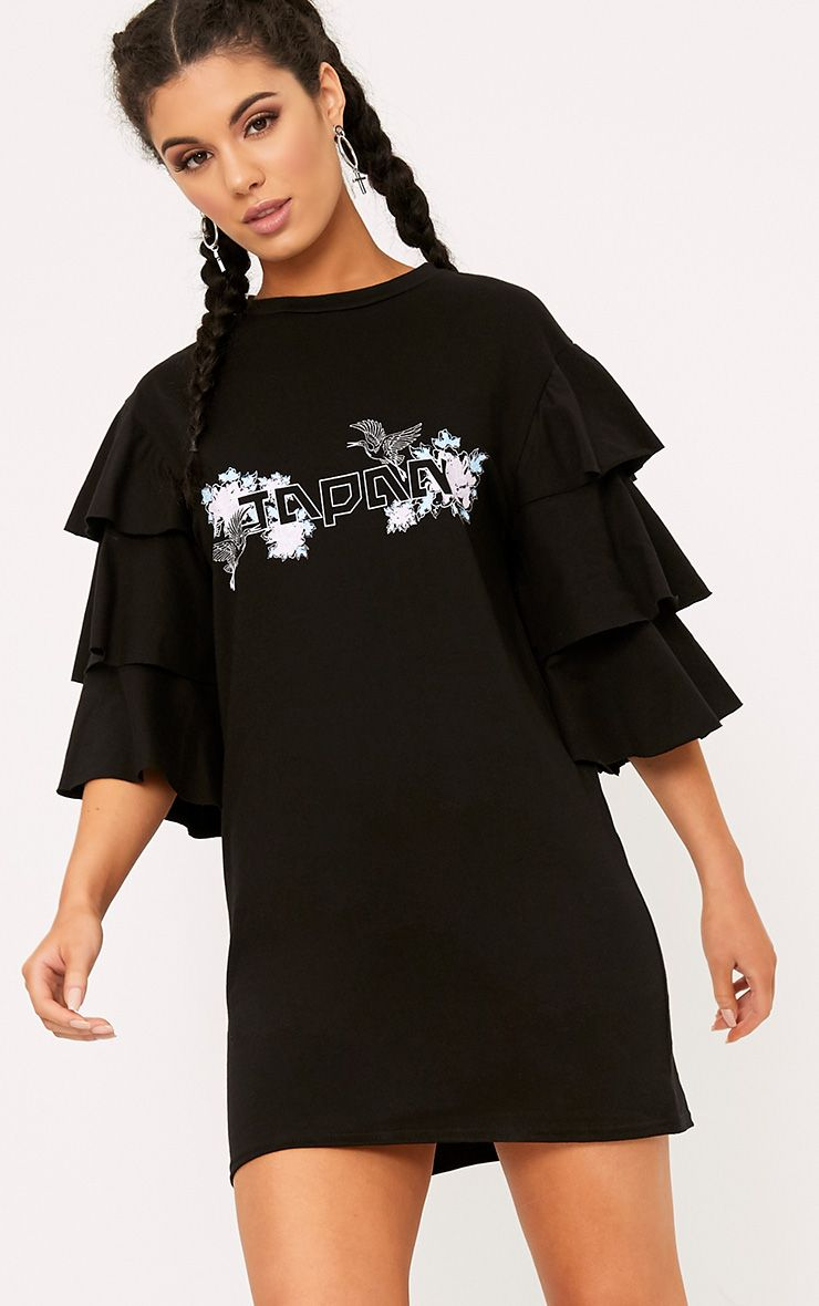 Black Japan Frill Sleeve T Shirt Dress