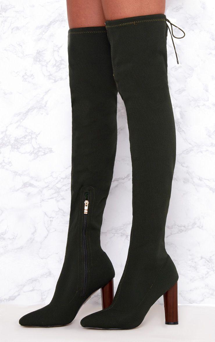 Khaki Woven Thigh High Sock Heeled Boots