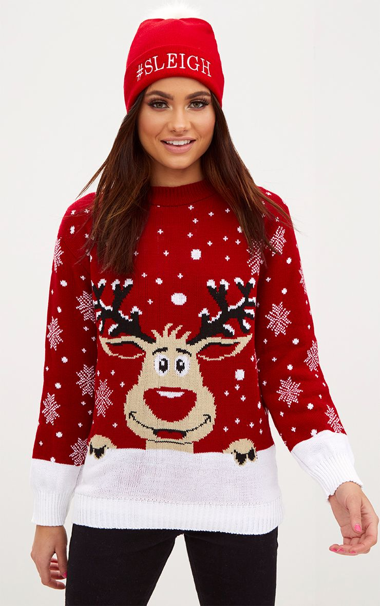 Red Reindeer Christmas Jumper 1