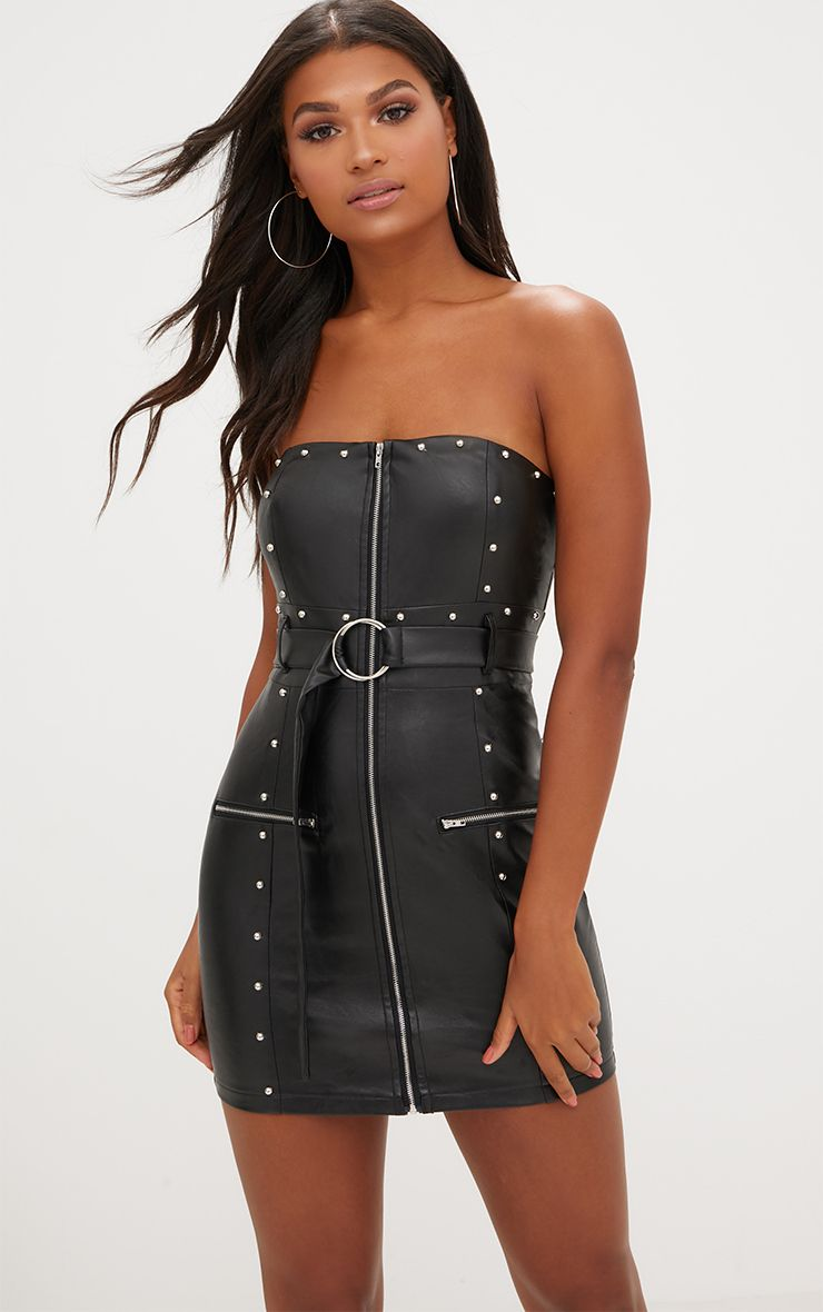 Black PU Stud Detail O Ring Bandeau Bodycon Dress