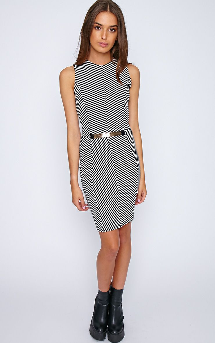Sabine Monochrome Chevron Dress 1