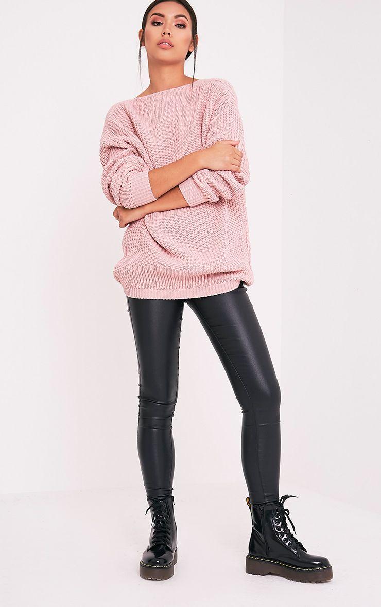 Flossie pull à dos en V tricoté style pêcheur rose pâle 5