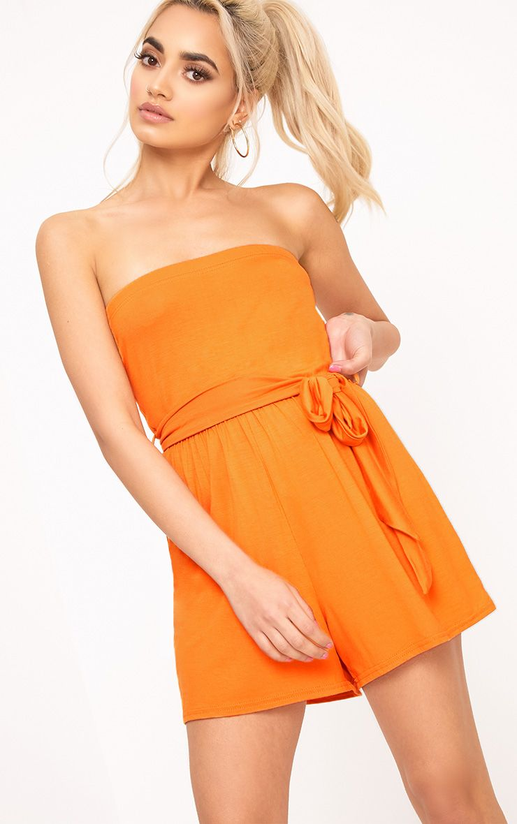 Jersey Orange Bandeau Playsuit