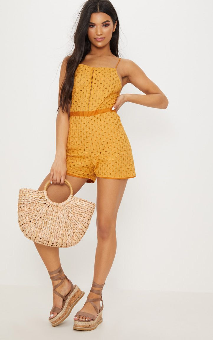 Mustard Broderie anglaise Straight Neck Playsuit