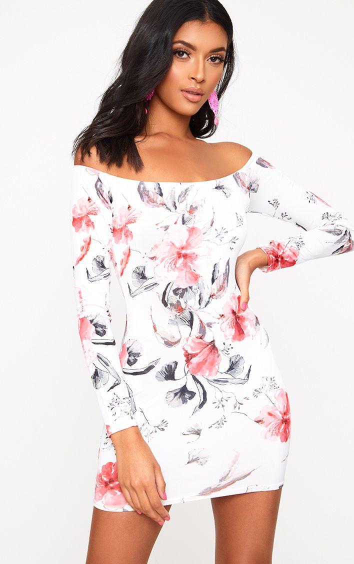 White Bardot Floral Bodycon Dress