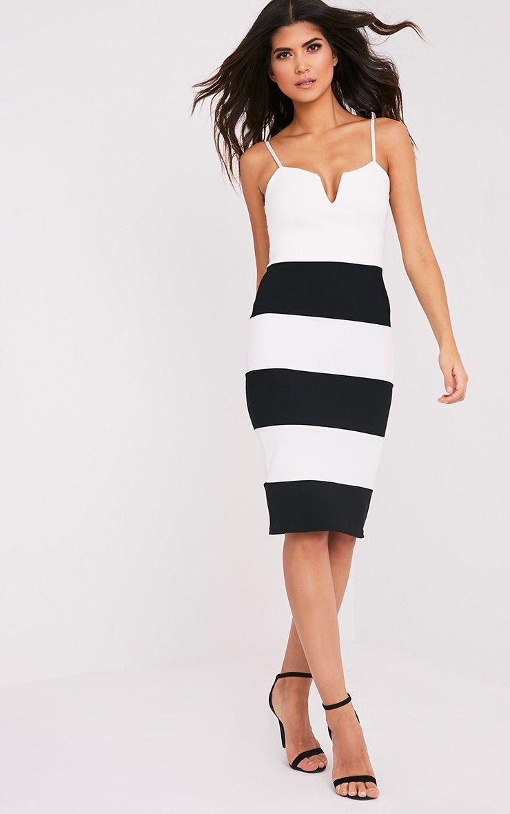 Ebony Monochrome Contrast Colour Block Bandage Dress 1