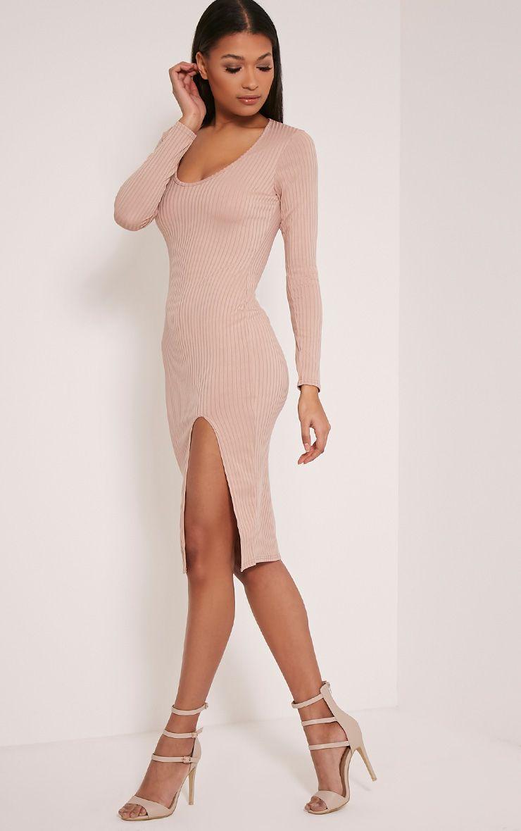 Meelia Taupe Plunge Neck Ribbed Midi Dress 1