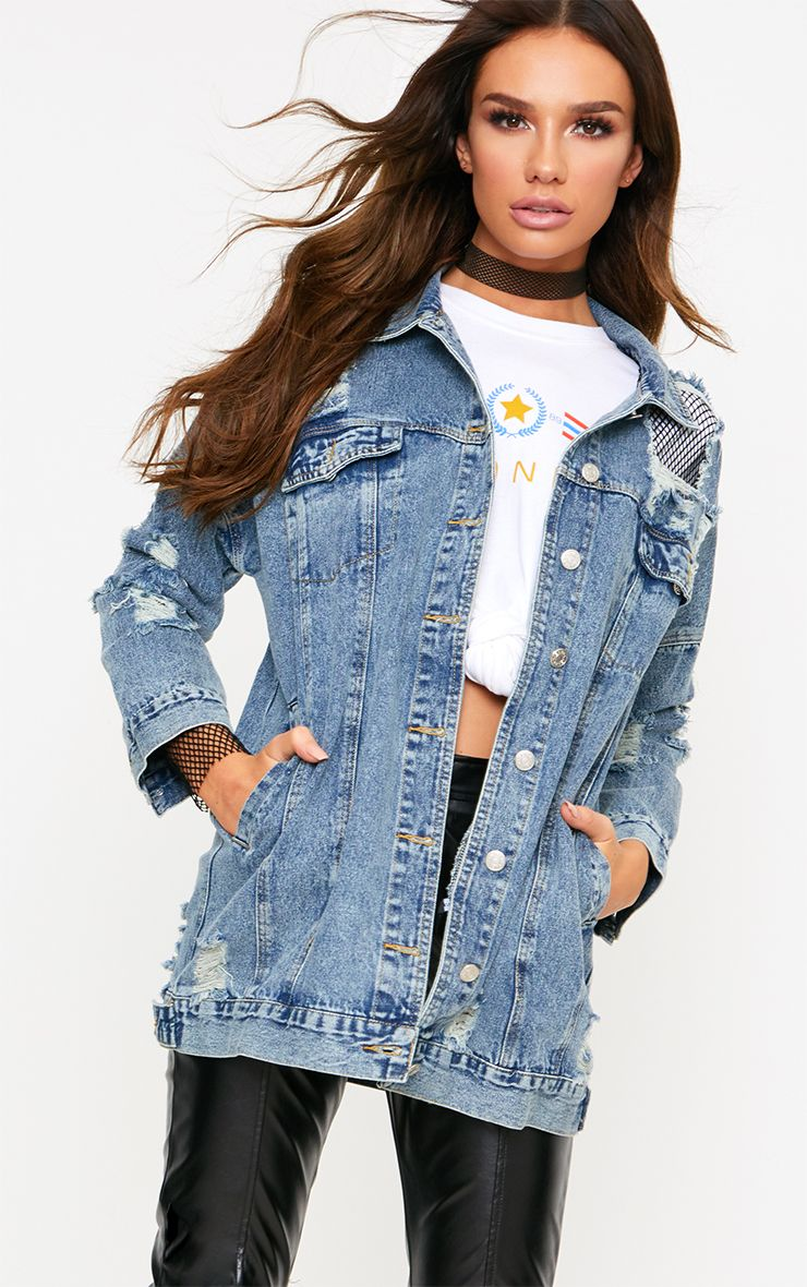 Veste en jean délavage moyen détail résille