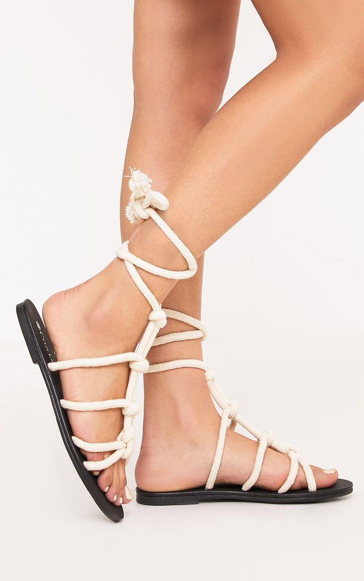 Paula sandales crème en corde