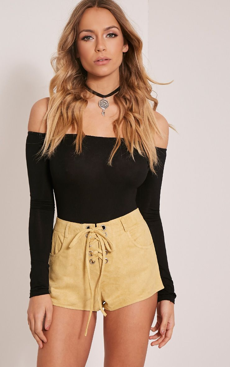 Kirah Yellow Faux Suede Lace Up Hotpants 1