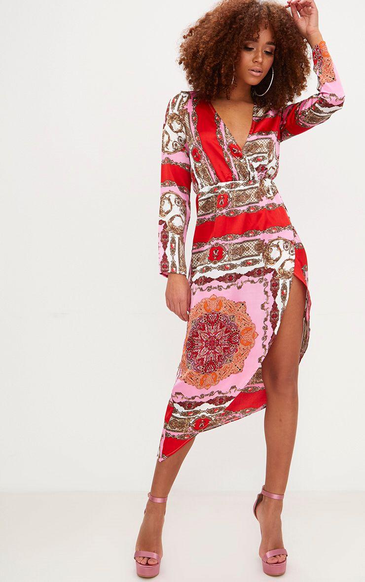 Robe rose mi-longue à imprimé foulard  1