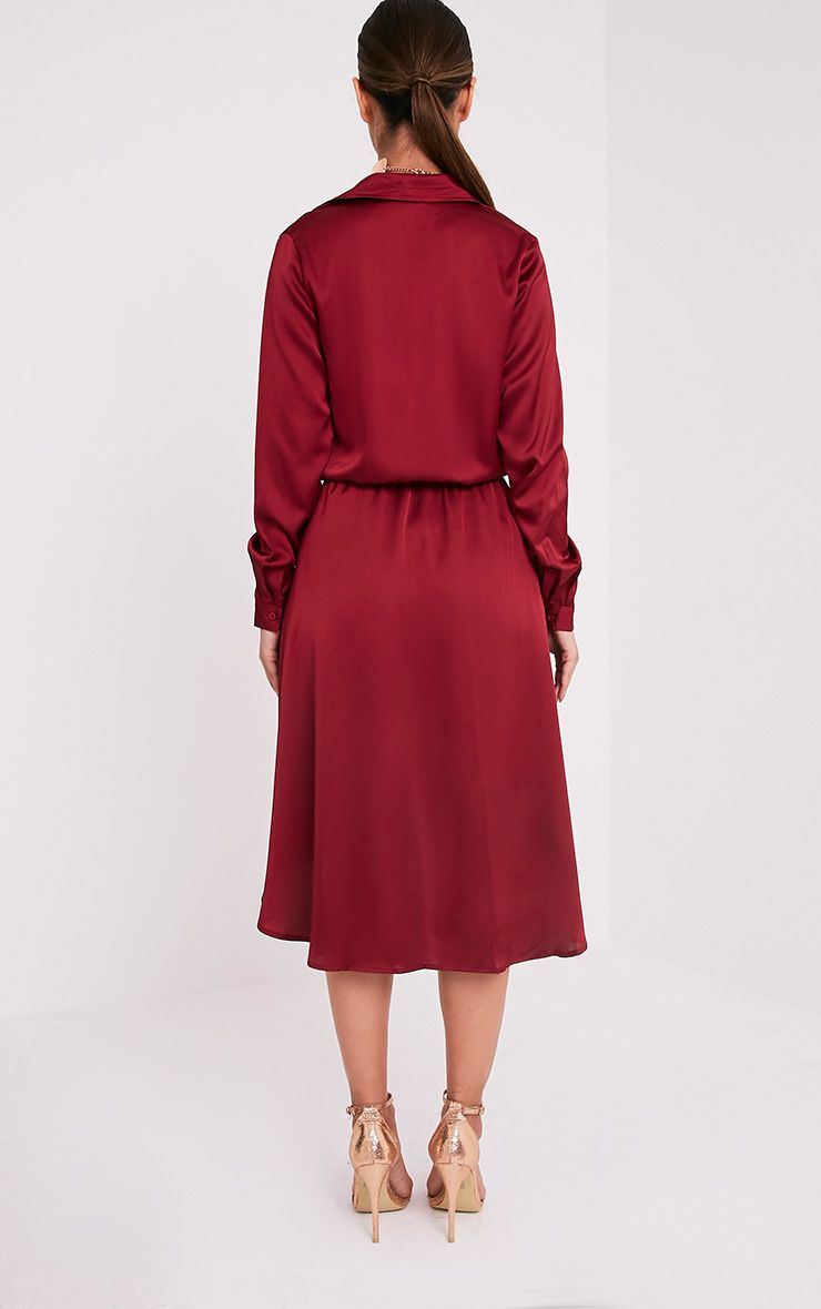 Gabbie Burgundy Silky Wrap Over Midi Dress  2
