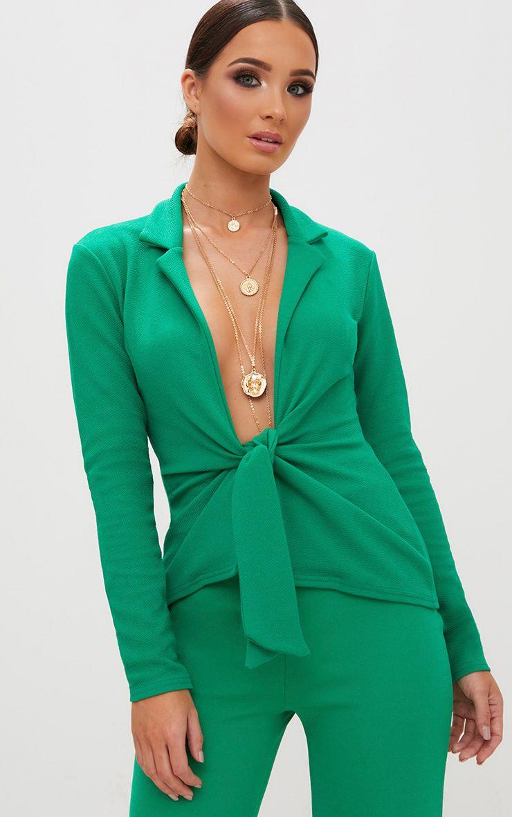Emerald Green Tie Front Blazer