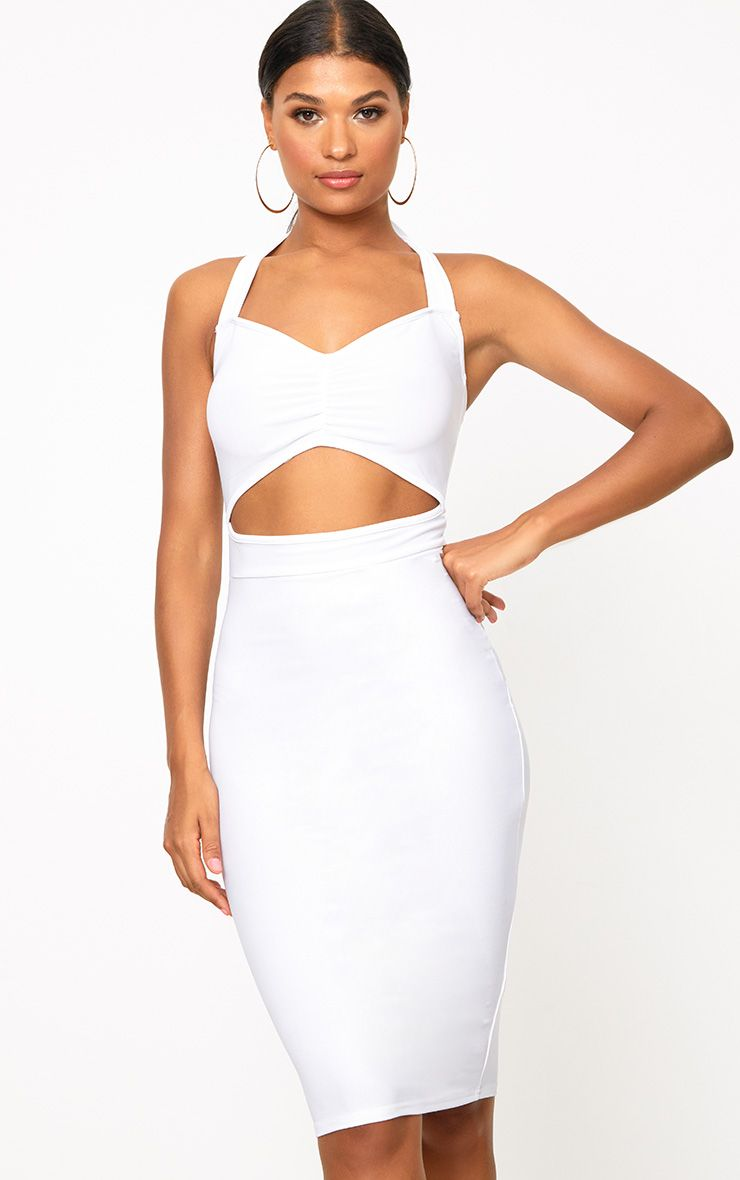 White Halterneck Midi Dress