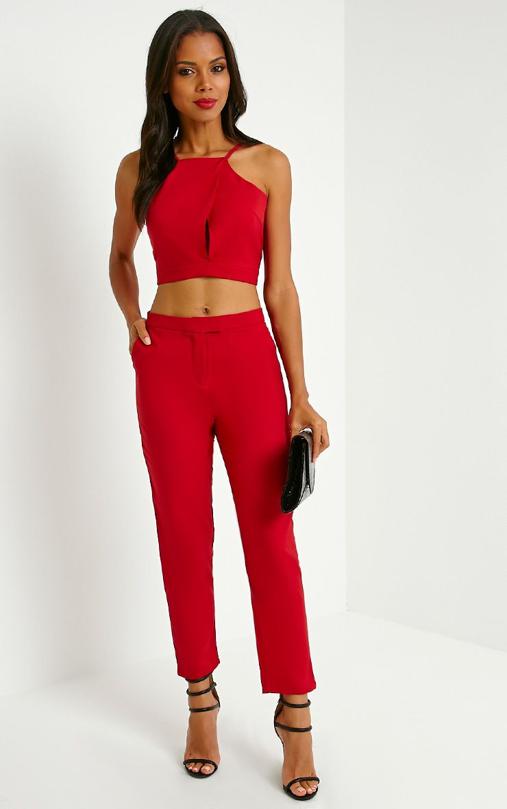 Luana Red Woven Trousers 1
