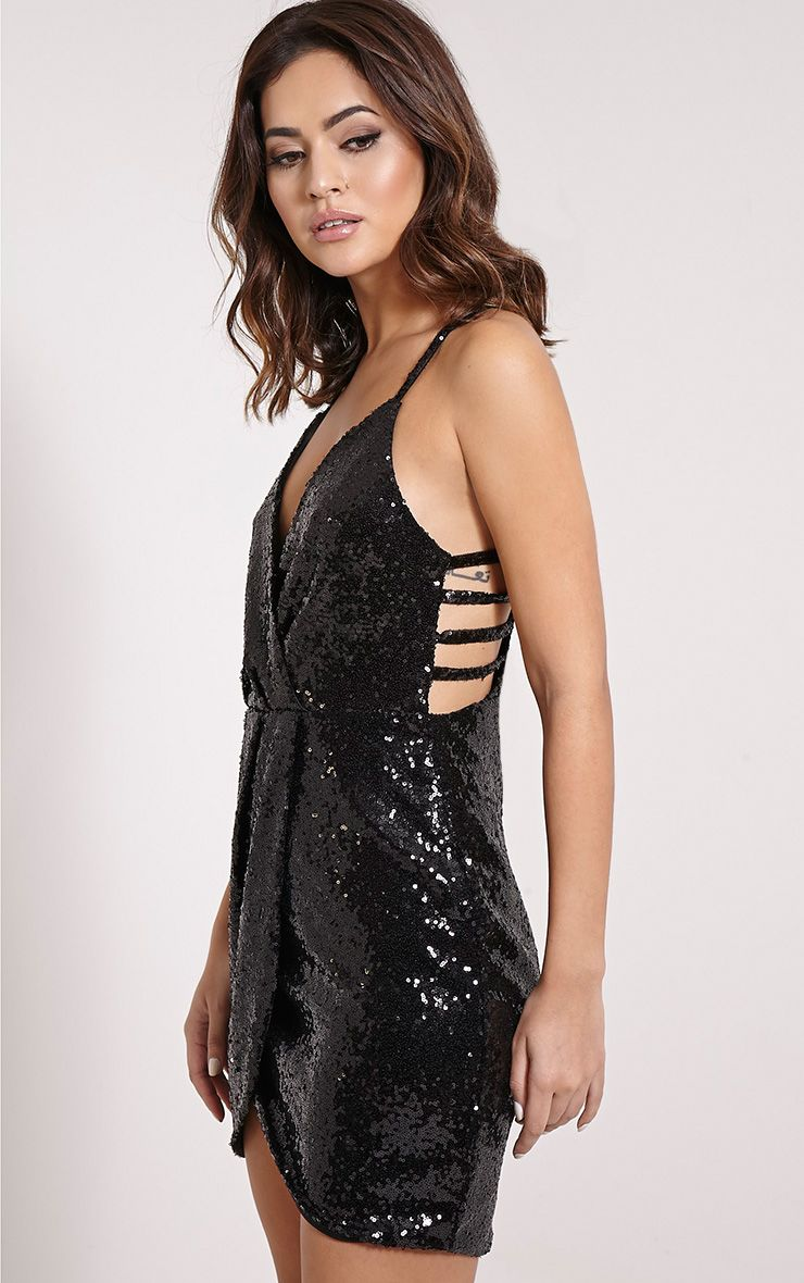 Angel Black Sequin Cross Front Mini Dress 1