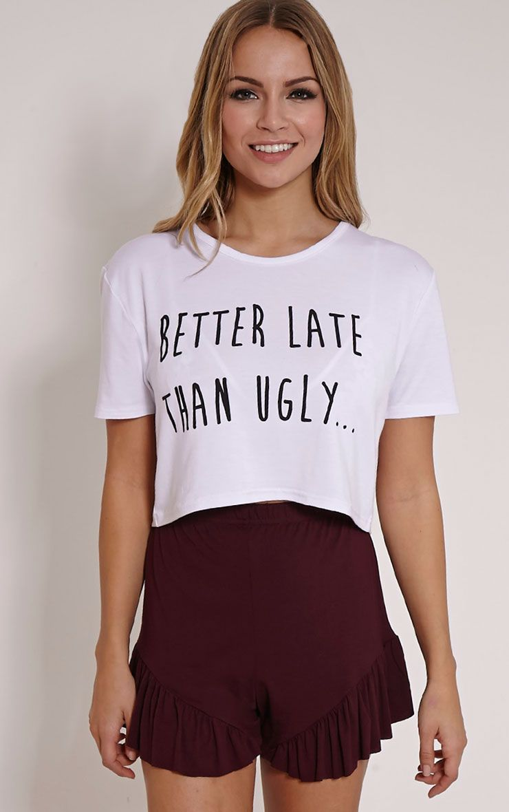 Better Late Than Ugly Burgundy Frill Short Pyjama Set 1