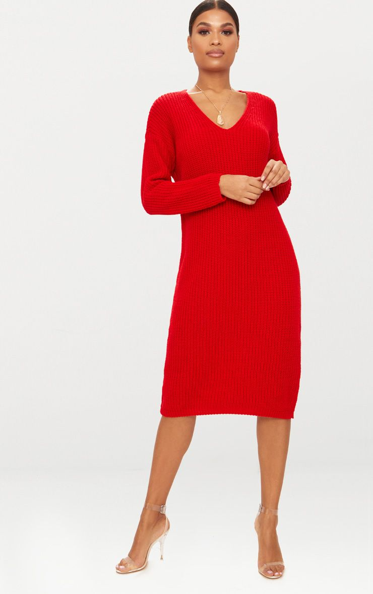Red V-Neck Oversized Knitted Dress