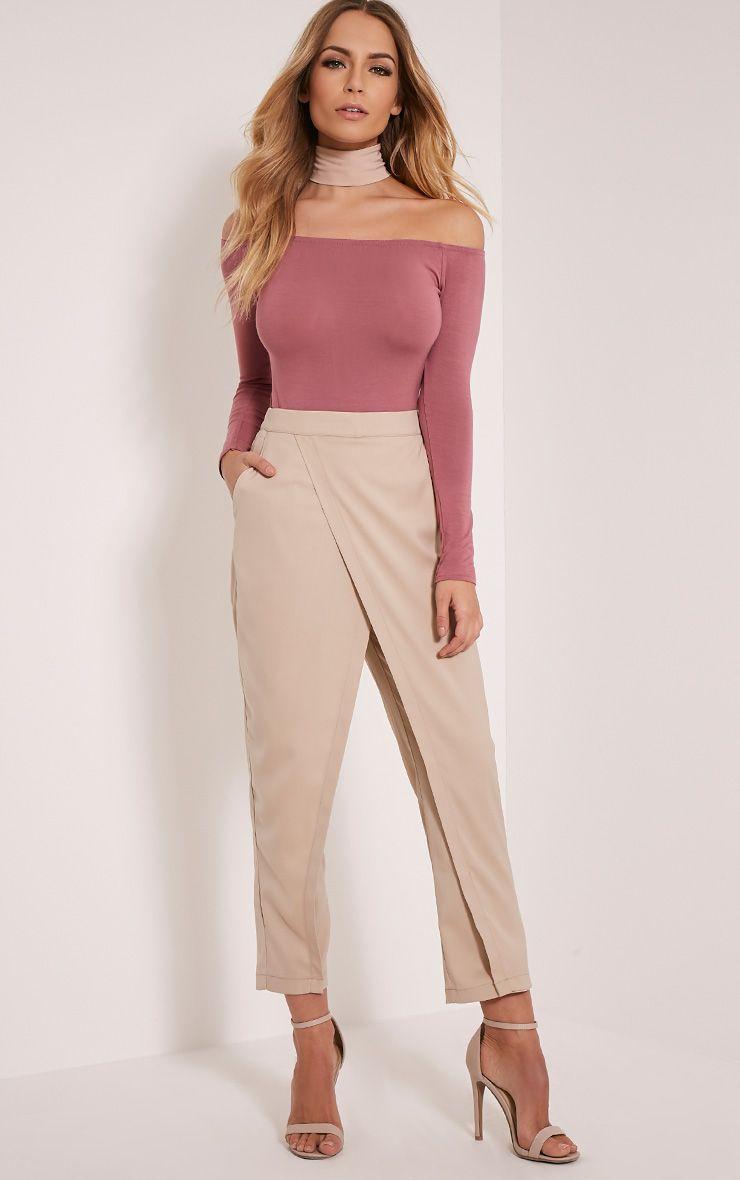 Petite Rachel Stone Cross Front Trousers