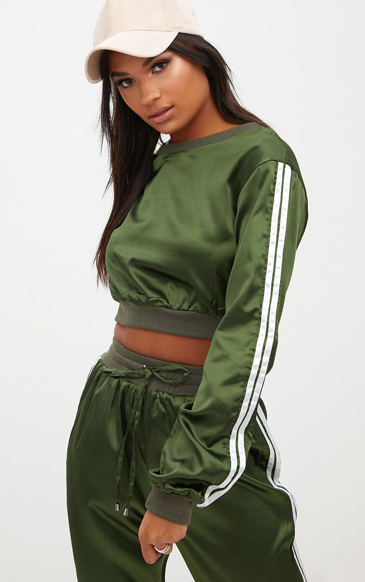 Forest Green Satin Sporty Trim Sweater