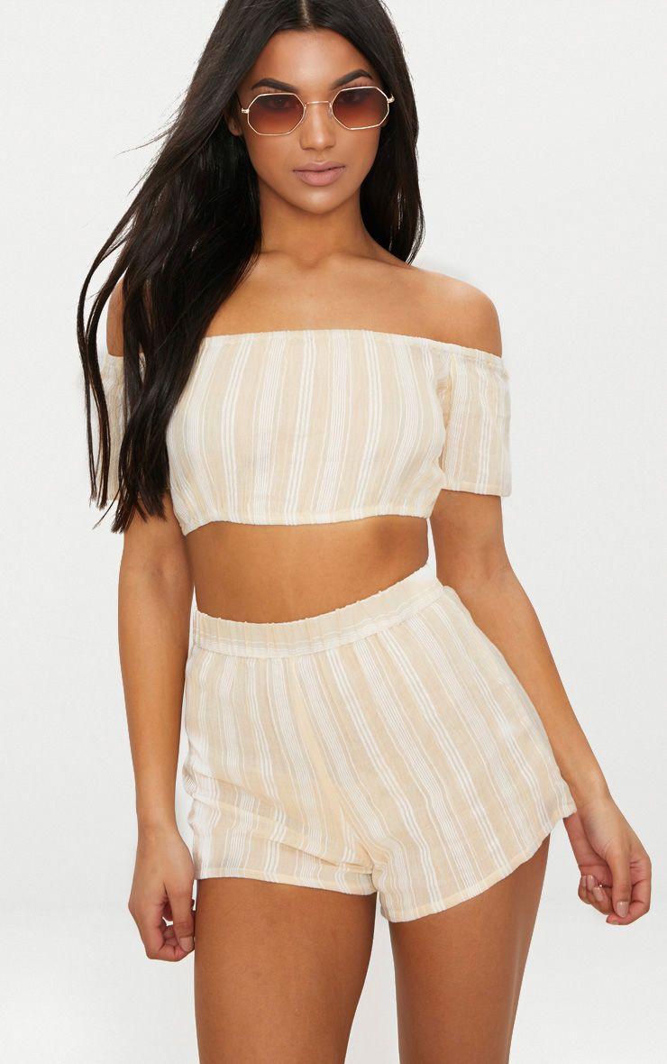 Stone Textured Stripe Shorts
