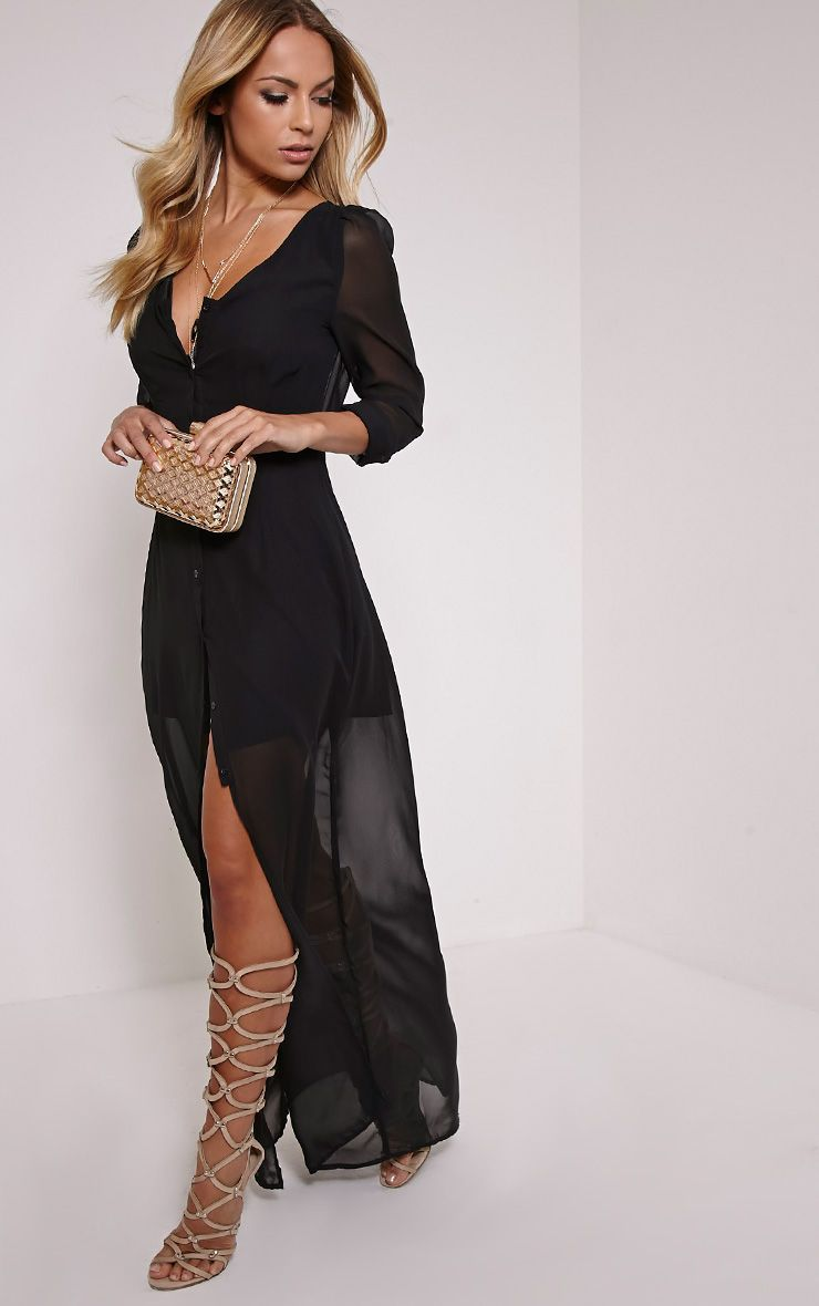 Melia Black Button Down Maxi Dress 1
