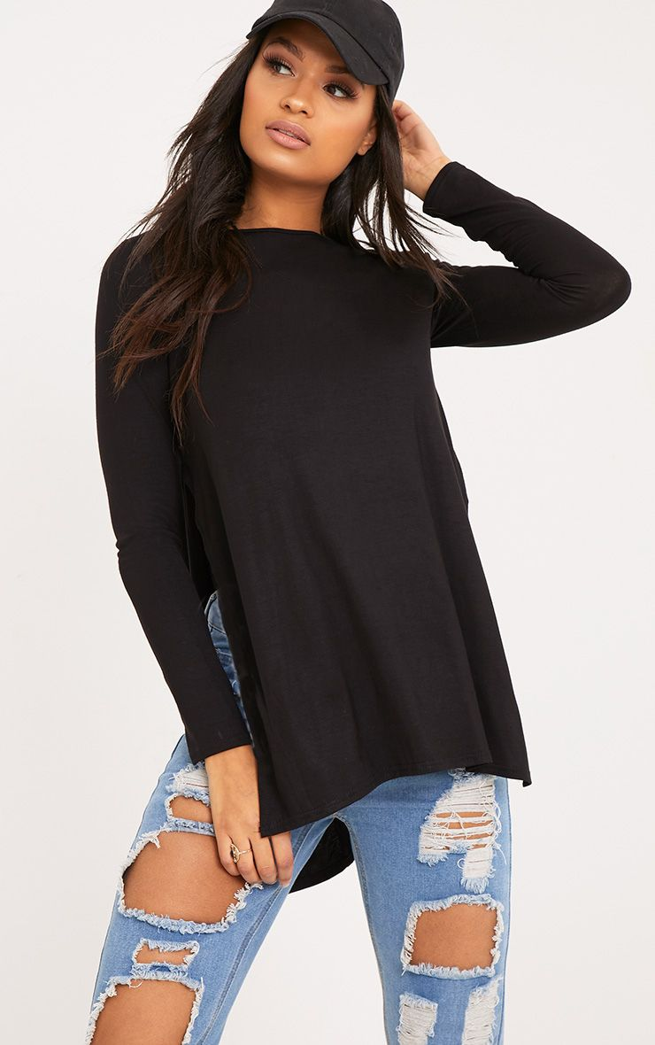 Tamsyn Black Long Sleeve Side Split Top