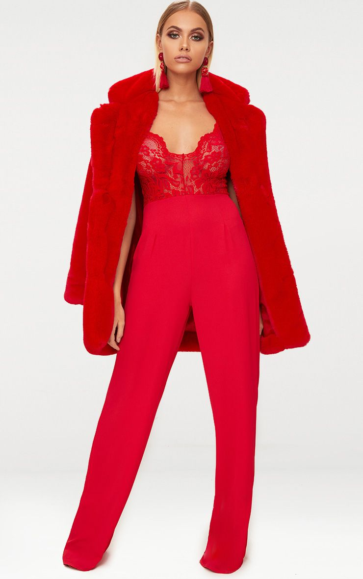 Red Lace Wide Leg Lace Jumpsuit