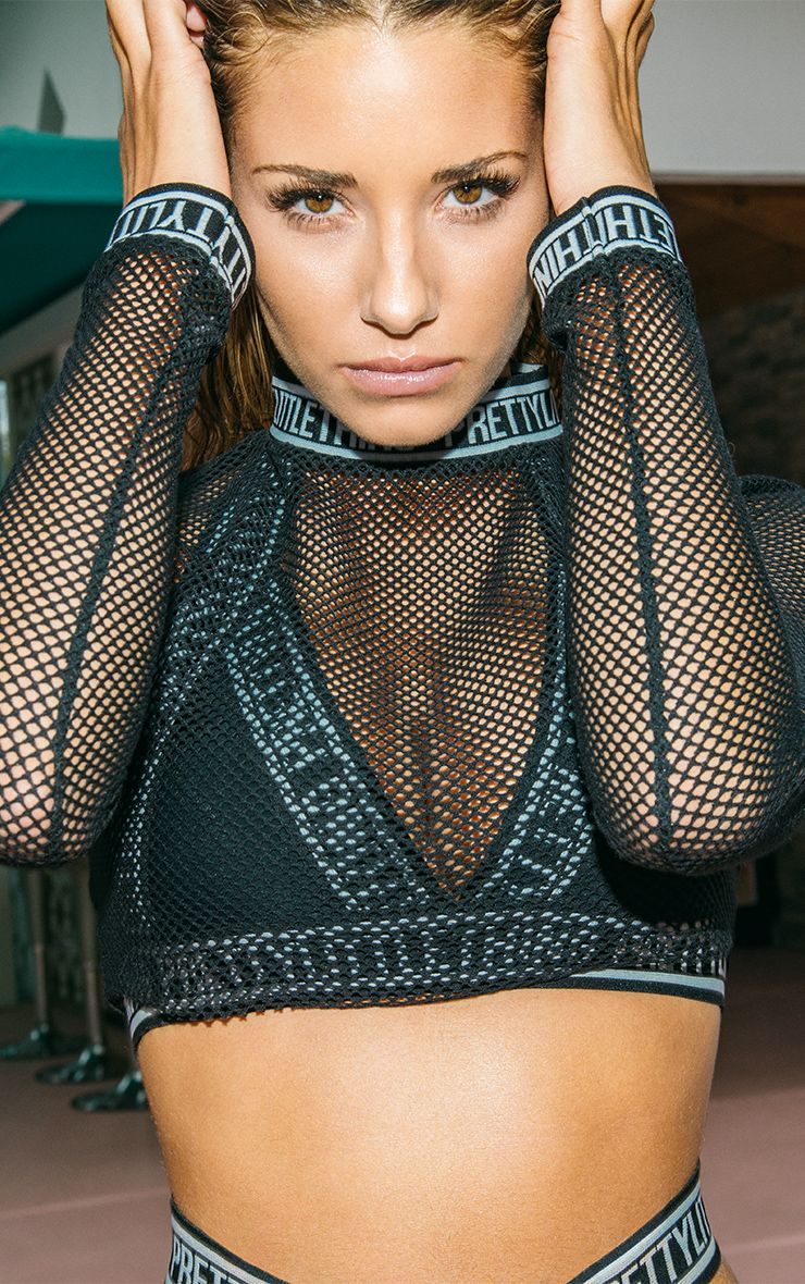 Therese Black Fishnet Crop Top