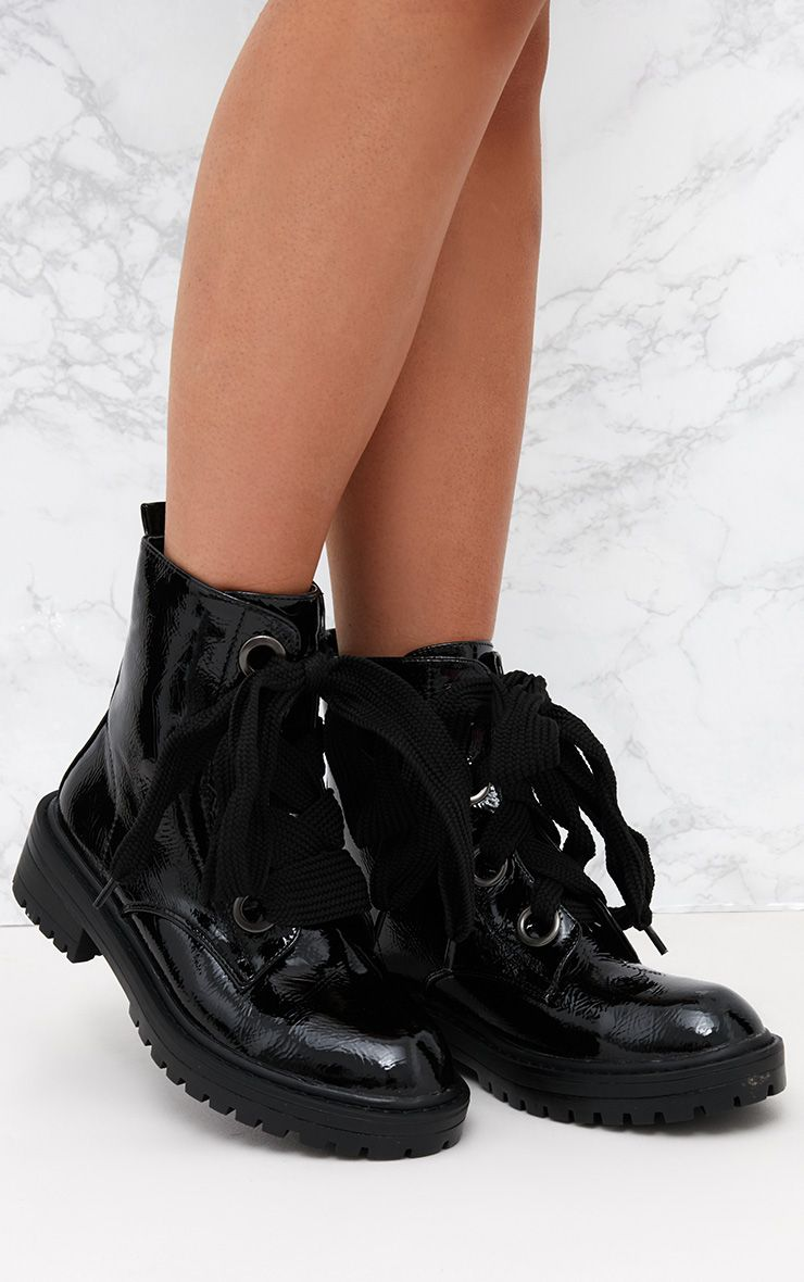 Black Patent Eyelet Chunky Boot