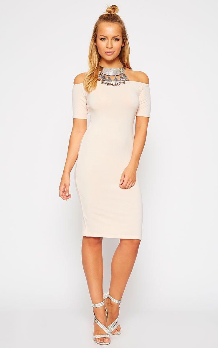 Caty Nude Jersey Bardot Midi Dress 1